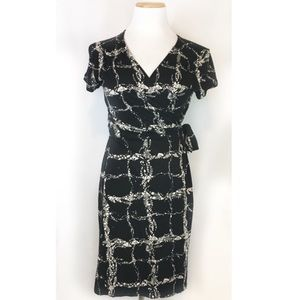 Banana Republic Black Patterned Wrap Dress